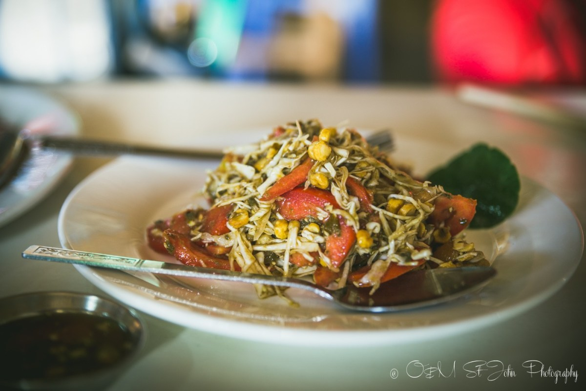 Tea leaf salad at Sin Yaw Restaurant in Nyaungshwe, Inle Lake
