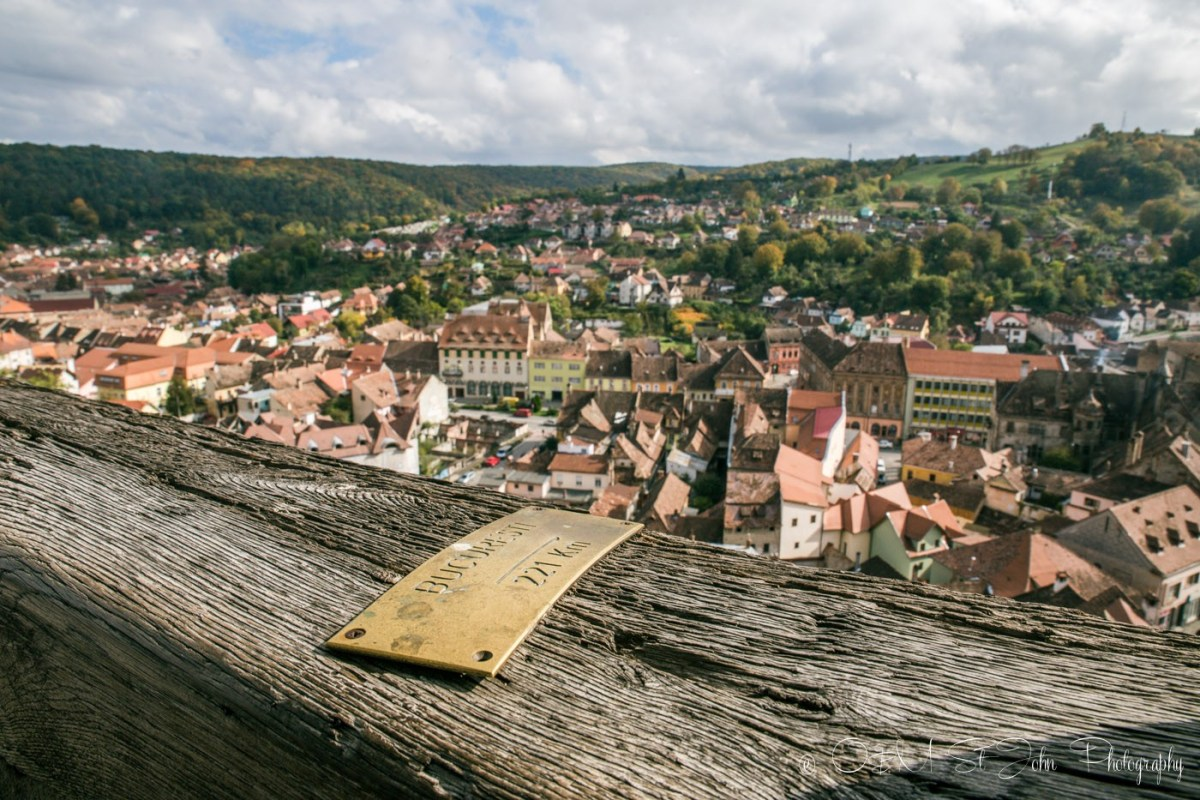 View from the top of the Clock Tower, Sighisoara. Romania