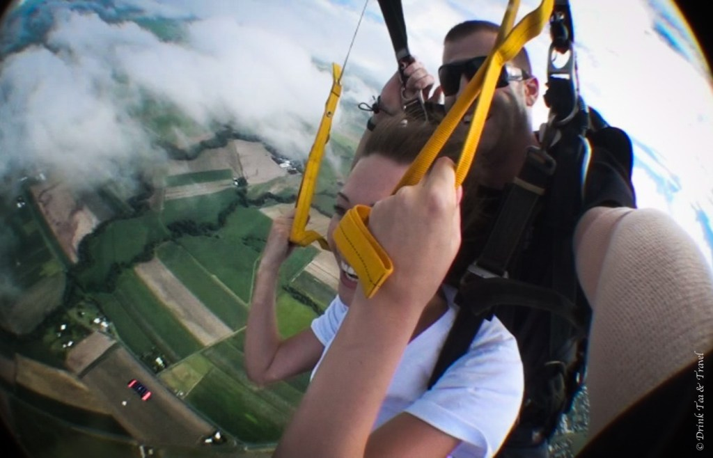 Steering the parachute above the fields in Cairns