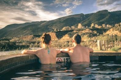 Max & Oksana at Iron Mountain Hot Springs in Glenwood Springs, Colorado. USA road trip