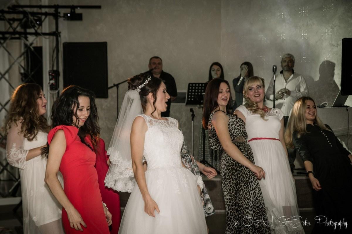 Ladies dancing at cousin's wedding in Ukraine
