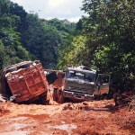 18Aug14 Day286 - Trucks  bogged on the road to Lethem, Guyana