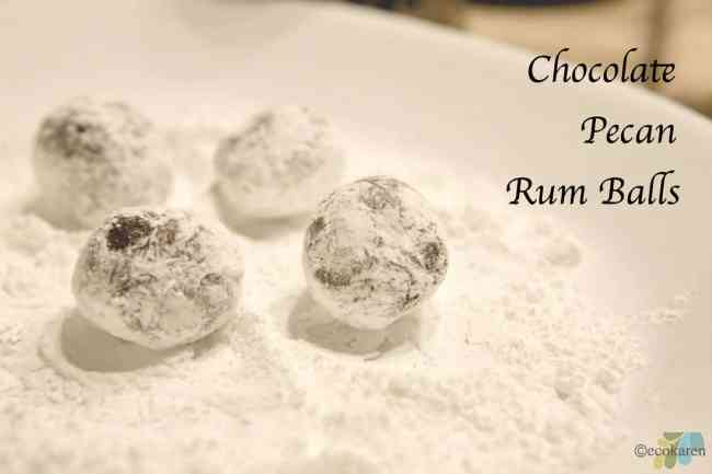 rum balls with confectioners sugar