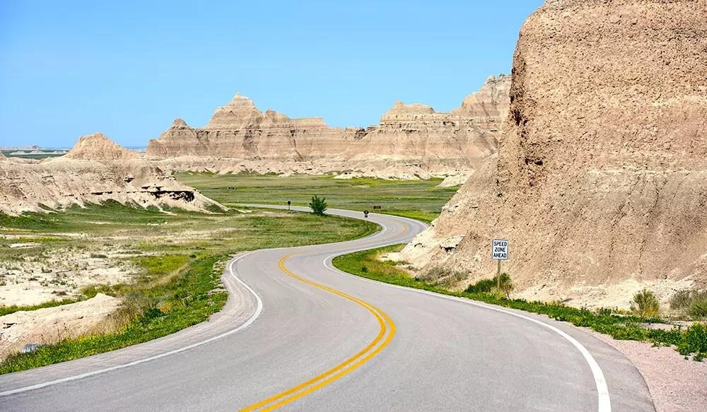 Loop Road Badlands - Curved Scenic Road Thru Badlands National Park, South Dakota USA.