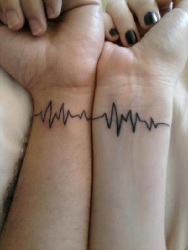 Heart beat one for both couple tattoo best tattoo ideas for Best couples tattoos