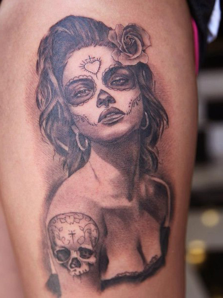 Inked skull tattoo chicano tattoo on shoulder best for Chicano tattoo ideas