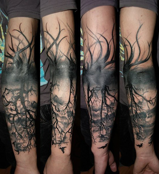 Tentacle Roots Dead Wood Blackwork Tattoo DUBUDDHAORG