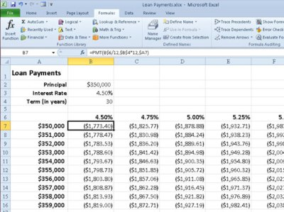 Calculating Loan Payments with Excel 2010's PMT Function - dummies