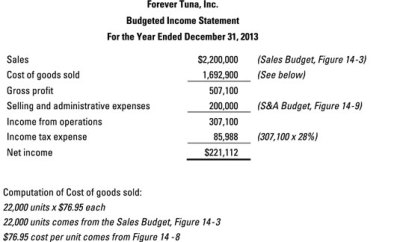 Construct a Budgeted Income Statement as Part of Your Master Budget - dummies
