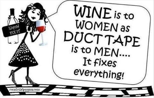 1 wine is to women, what duct tape is to men, it fixes everything