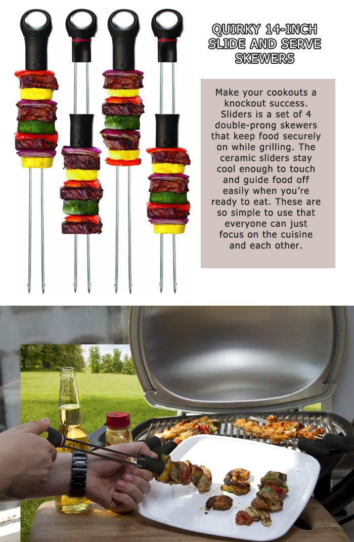 3 Quirky 14 inch Slide and Serve Skewers