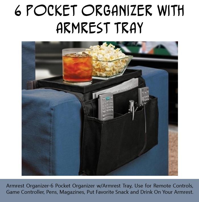 6 Pocket Armrest Organizer with Armrest Tray