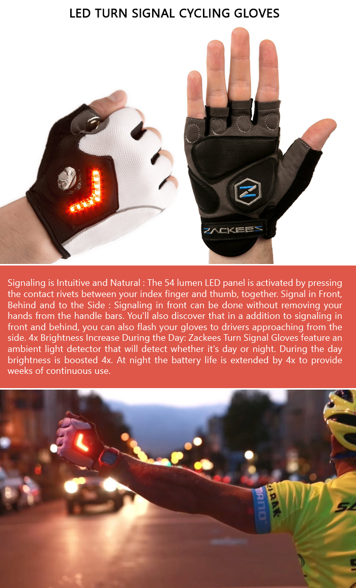 LED Turn Signal Cycling Gloves