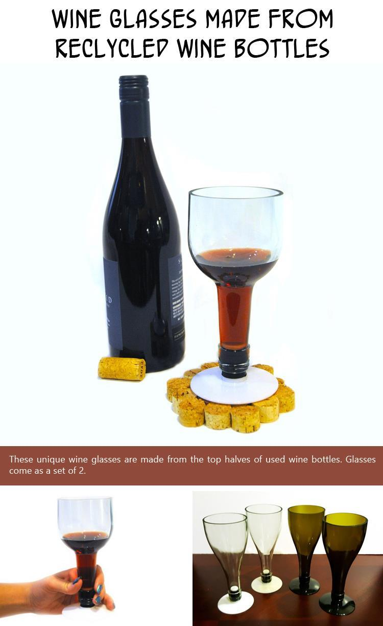 Wine Glasses made from reclycled wine bottles