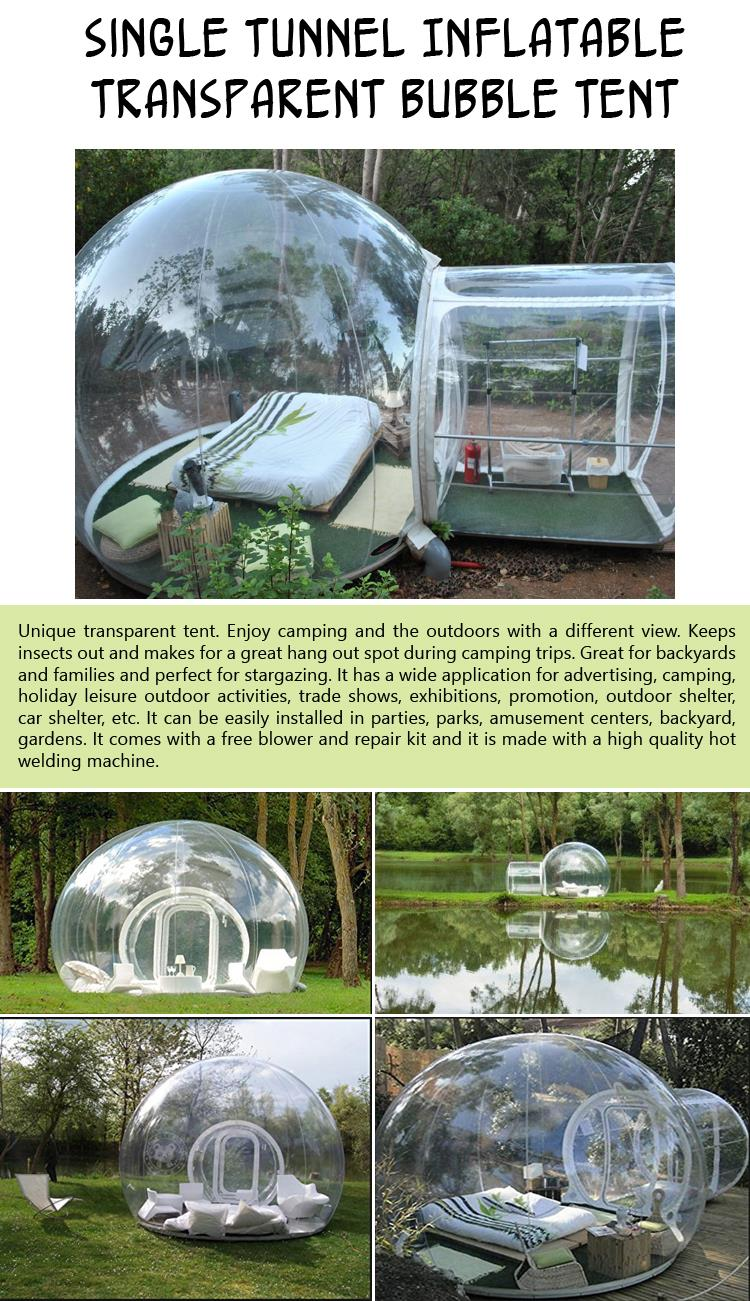 Single Tunnel Inflatable Transparent Bubble Tent