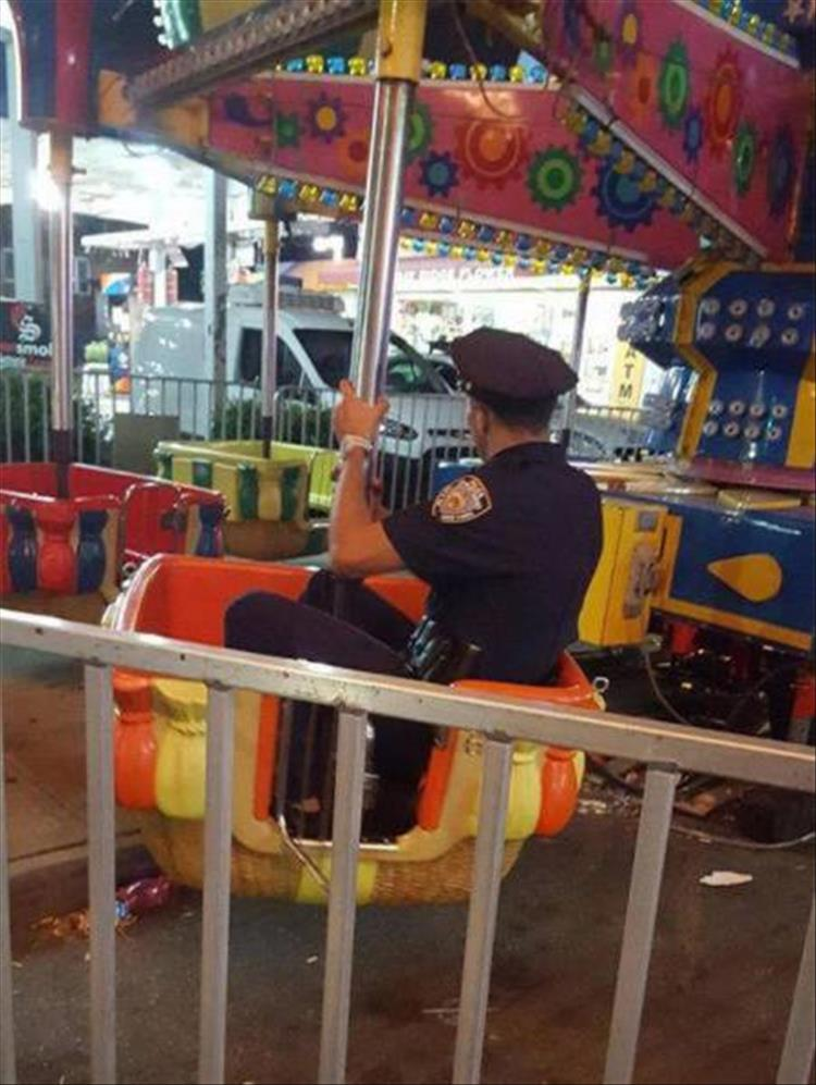 policeman riding a ride