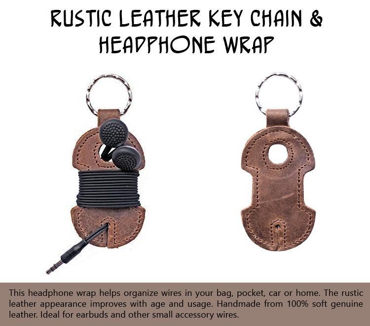 Rustic Leather Key Chain & Headphone Wrap