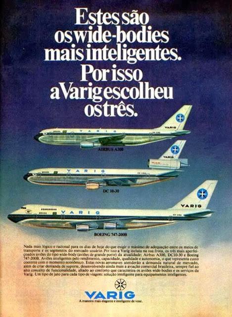 Publicidade da Varig mostrava a frota moderna para a época (Arquivo/Varig)