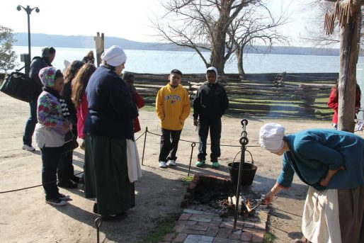 Students visit Mount Vernon, the historical plantation home of George Washington. They learned how to make candles in pots, how to make corn in a bowl and how people made music in the past. (Photo courtesy of EDCI)