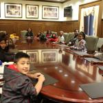 "Students sit in the office of the Archivist of the United States. ""It felt special to us because I felt like I was a president, too,"" said third-grader Imani Battle. (Photo courtesy of EDCI)"