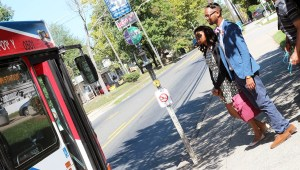 N.C. Central students Kevohn McCormick and Jasmine Holeman wait for the bus.