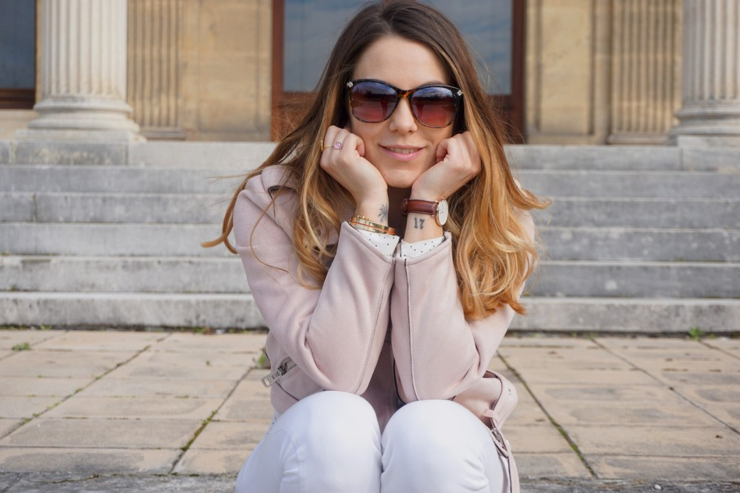JOURNEE DE LA FEMME 2017 MARS LOOK PRINTEMPS GIRLY PERFECTO ROSE ZARA SUPERSTARS ADIDAS LOOK TOTAL WHITE FASHION BLOG MODE BLOGUEUSE BORDEAUX CORSE 12