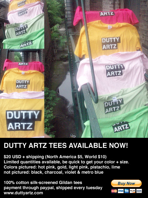 dutty artz t shirts ad