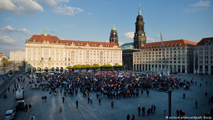Why Germany   s far right flourishes in Dresden   German election 2017     Pegida Demonstrators at Dresden s Altmarkt in 2016