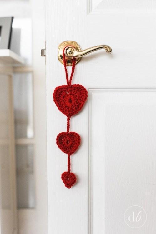 crochet heart door hanger