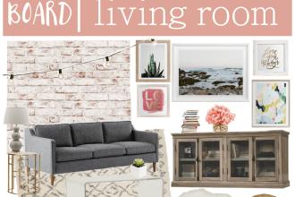 modern bohemian living room mood board