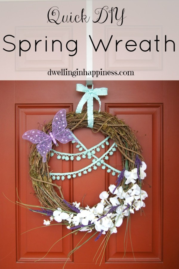 Quick DIY Spring Wreath! Easy to make, and so cheery and happy to dress up your front porch for spring! Made by Dwelling in Happiness