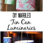 DIY Marbled Tin-Can Luminaries