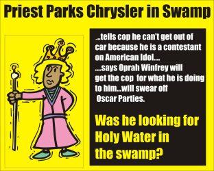 Priest parks Chrysler in swamp