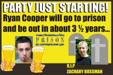 Ryan Cooper sent to slammer for just 3 years - the life of the party for Bubba!