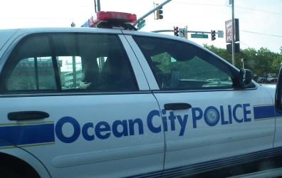Ocean City Maryland Police squad car on Coastal Highway.  THE CHESAPEAKE TODAY photo