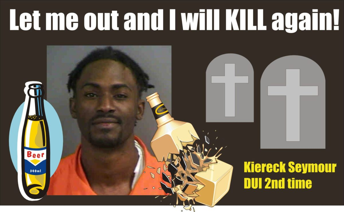 Florida: Kiereck Seymour likes to booze and cruise; busted 2nd time DUI but this time without a body bag on the roadway left behind