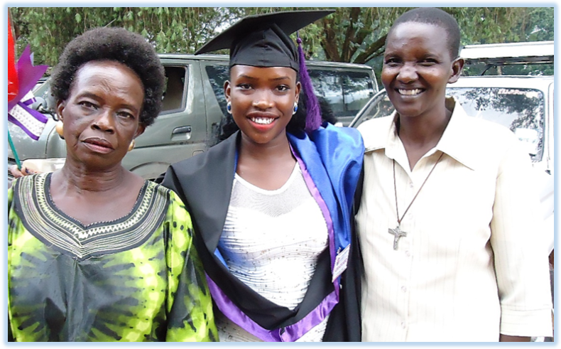 Our longest standing scholarship recipient, Juan Winnie is seen here with her mother (left) and DWMCF Tertiary Scholarship Administrator, Sister Lily Grace Akedi (right). Juan Winnie graduated from Christian University in Mukono, Uganda in July, 2017.  DWMCF is proud to have funded her secondary and tertiary education since 2007.