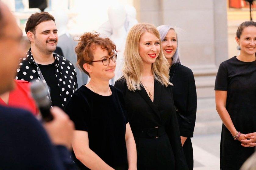 Die Preisträger des European Fashion Award FASH 2017: Andreas Stang, Livia Honus, Sonja Litichevskaya und Katja Skoppek (von links). Foto: © Bernhard Ludewig / SDBI