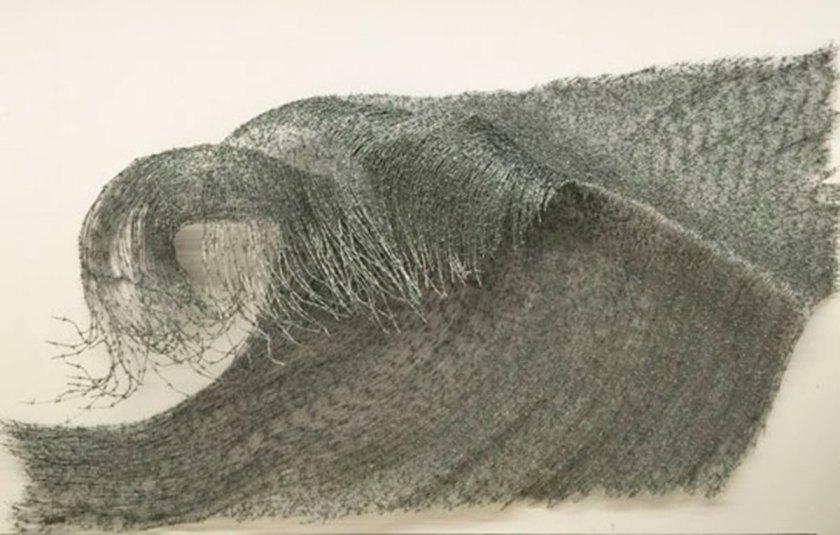 "Abdul Rahman Katanani, ""Wave"" Barbed Wire, 200 X 400 Cm, 2016 Collection Dar El Nimer"