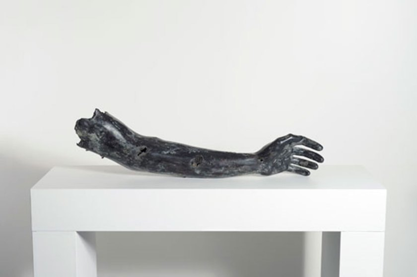 "Mohamad Said Baalbaki, ""One Hand Alone Can'T Clap"" Bronze, 90 X 30 X 15 Cm, 2010 Collection Saradar, © Agop Kanledjian"