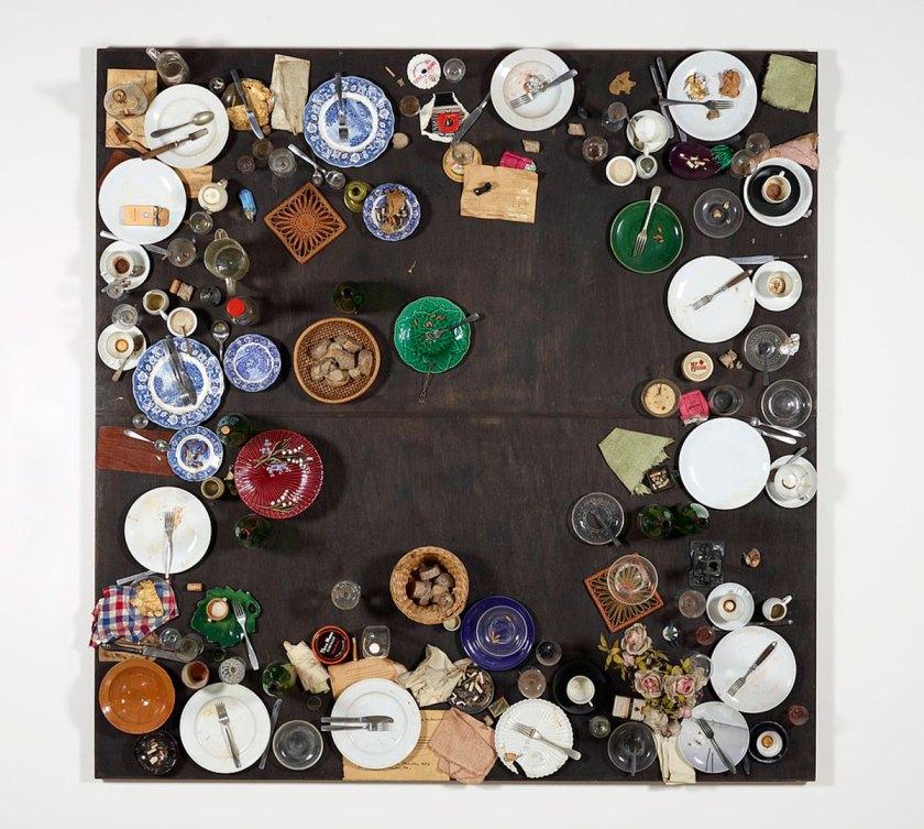 Daniel Spoerri, Hahns Abendmahl, 1964, © VG Bild-Kunst, Bonn 2017 Photo: mumok, Museum moderner Kunst Stiftung Ludwig Wien, ehemals Sammlung Hahn, Köln