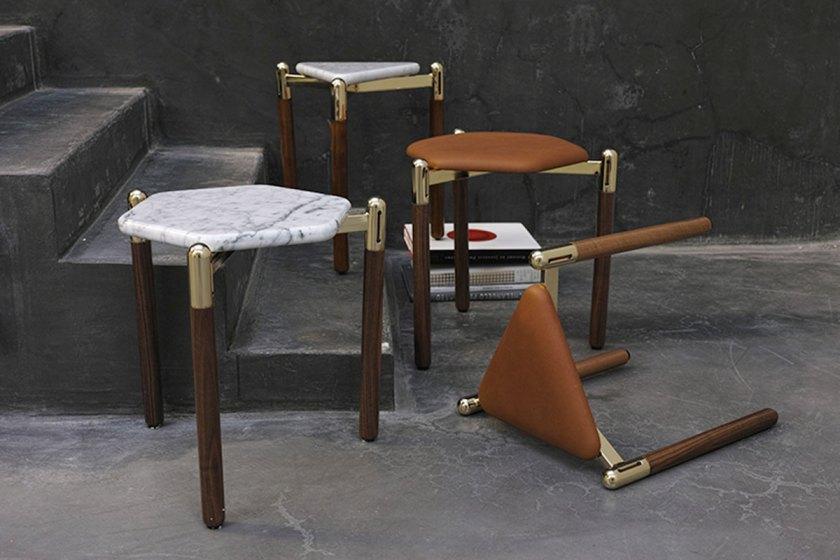 David/Nicolas, Leather Stools & Marble Side Tables, courtesy of Joy Mardini Gallery
