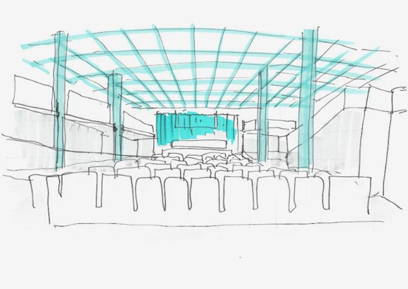 CENTRO DE FORMACIÓN PLANETA. La Granja Design. Hospitalet de Llobregat (Barcelona). Boceto del auditorio.