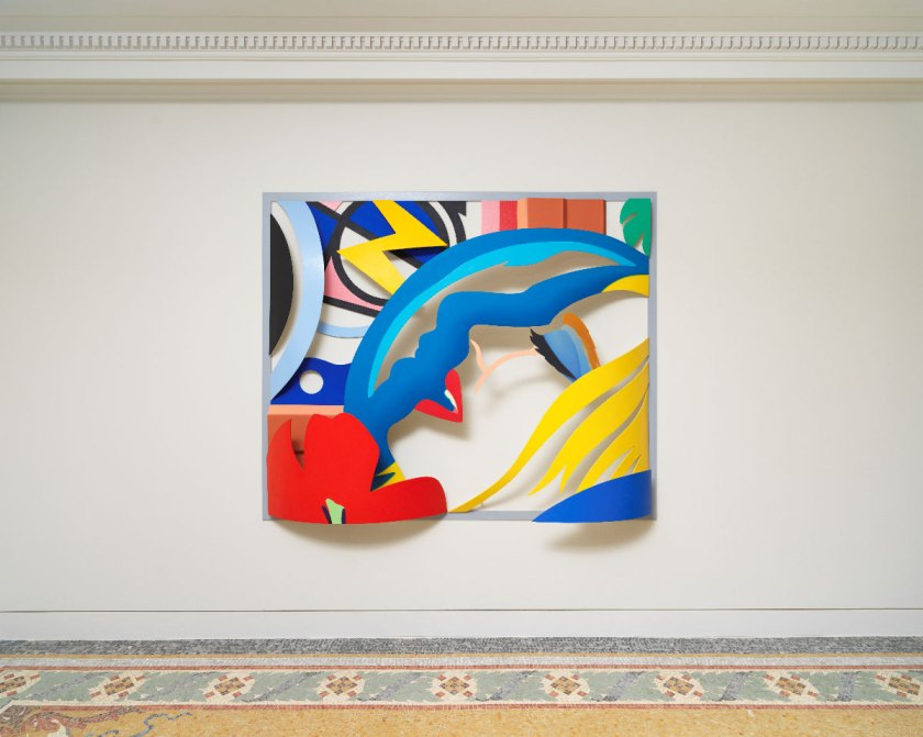 Exposition Tom Wesselmann, La Promesse du Bonheur Nouveau Musée National de Monaco - Villa Paloma Tom Wesselmann Bedroom Face with Lichtenstein[ Artist's Variation}, 1988-92 Huile sur aluminium découpé / 0il on cut-out aluminum 1?2,?x208,3x33 cm Photo NMNM/Jeffrey Sturges, 2018 © The Estate of Tom Wesselmann/ Licensed by VAGA, New York