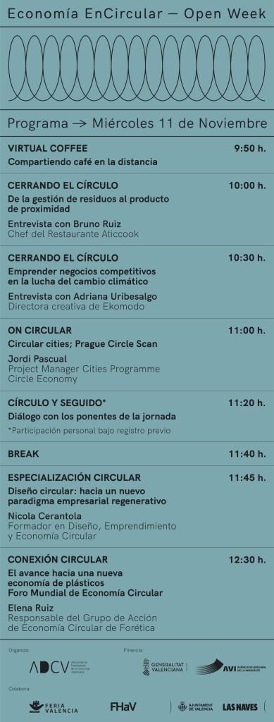 Programa Jornadas Encircular Miércoles 11