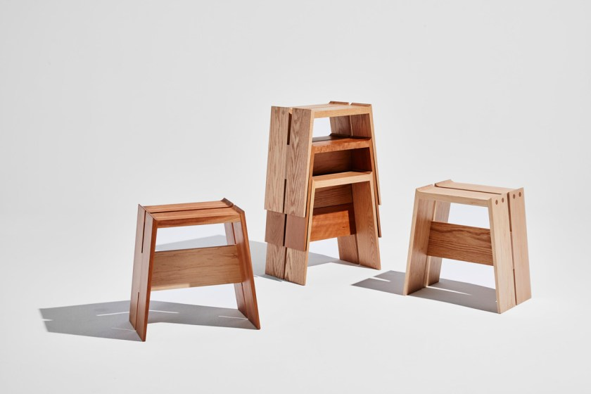 Discovered_P_Roof-Stool-by-Trang-Nguyen_red-oak-cherry-maple_credit-Winston-Chuang