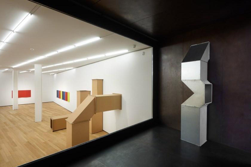 """Installation view of """"Charlotte Posenenske: FROM B TO E AND MORE"""" at Fondazione Antonio Dalle Nogare, 2021. Courtesy of the Estate of Charlotte Posenenske and Mehdi Chouakri, Berlin. Ph: Jürgen Eheim Fotostudio."""