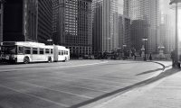 chicago bus black and white photo