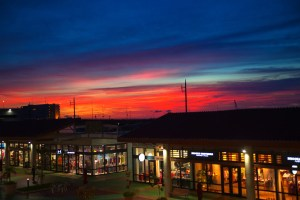 Sunset viewed from the shopping mall