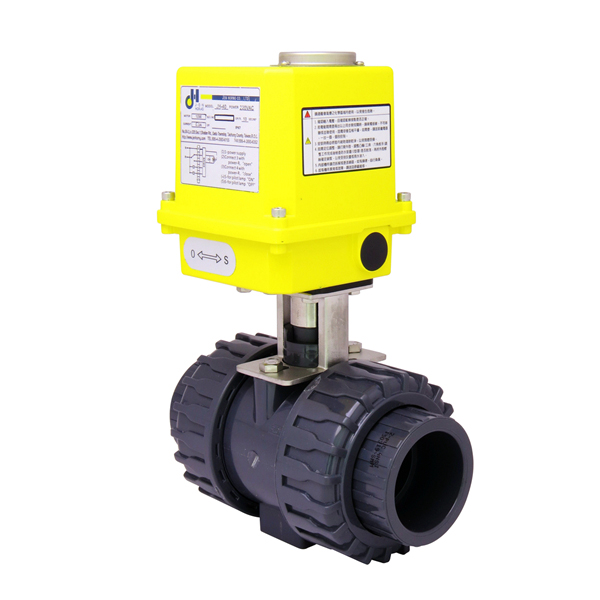 Rotary-automatic-electric-actuator-JH40-plastic-PVC-CPVC-double-union-ball-valve-1
